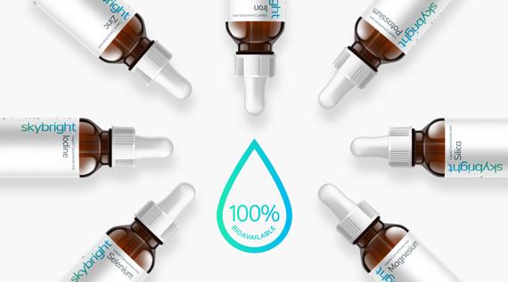 Skybright Liquid Minerals. Zinc, Magnesium, Potassium, Iodine, Iron, Silica, Selenium. 100% Bioavailable.