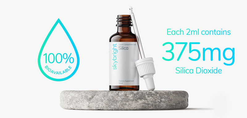 Silica Liquid Mineral. Each 2ml contains: Silica Dioxide 375mg, Purified Water. 100% bioavailable